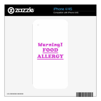 Warning Food Allergy Decal For The iPhone 4S