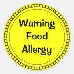 Warning  Food   Allergy Round Sticker