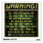 Warning gamers zone wall decal