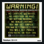 """Warning gamers zone wall decal<br><div class=""""desc"""">Warning sign for gamers</div>"""