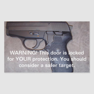 Warning Gun Rectangular Sticker