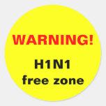 Warning! H1N1 free zone Classic Round Sticker