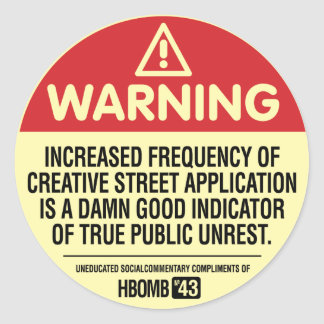 Warning H-Bomb Classic Round Sticker