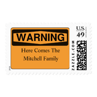 Warning Here Comes The Family Postage Stamps