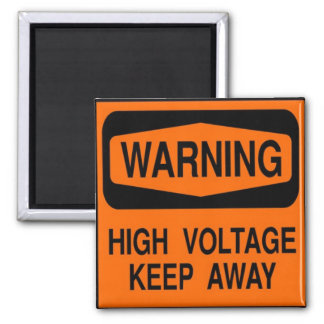 warning high voltage 2 inch square magnet