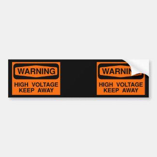 warning high voltage bumper sticker
