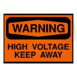 warning high voltage greeting card
