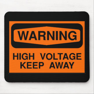 warning high voltage mouse pad