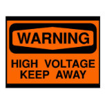 warning high voltage post card