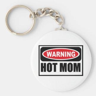 Warning HOT MOM Key Chain