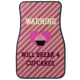 Warning I Break 4 Cupcakes Pink Stripes Car Mats Floor Mat