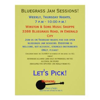 Warning: I have a banjo - Bluegrass Jam Session Flyer