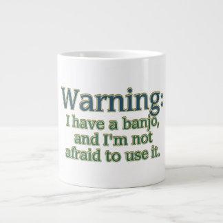 Warning: I have a banjo.... 20 Oz Large Ceramic Coffee Mug