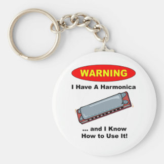 Warning! I Have A Harmonica ... Basic Round Button Keychain