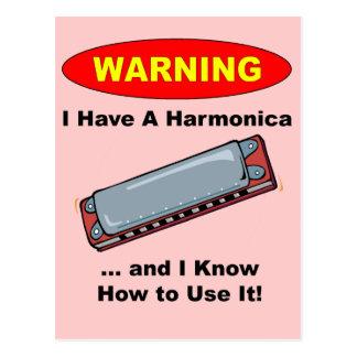 Warning! I Have A Harmonica ... Postcard