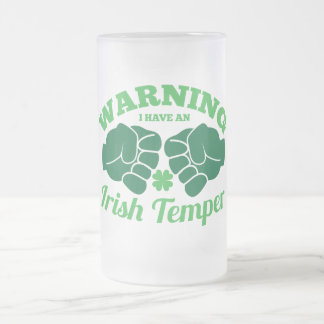 WARNING I have an Irish Temper! from Awesome Irish Frosted Glass Beer Mug