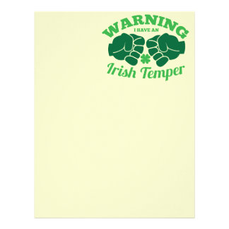 WARNING I have an Irish Temper! from Awesome Irish Letterhead