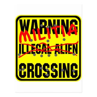 Warning Illegal Alien (Militia) Crossing Postcard
