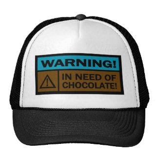 Warning, In Need Of Chocolate Mesh Hats