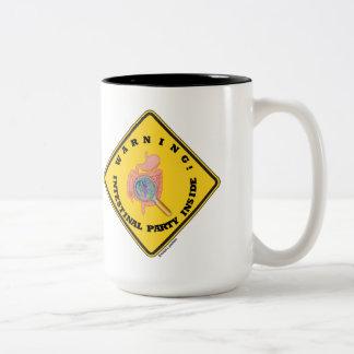Warning! Intestinal Party Inside (Guts Magnifying) Two-Tone Coffee Mug