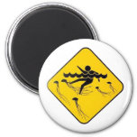 Warning Jellyfish in Water-Street sign Refrigerator Magnets