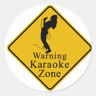 Warning karaoke zone classic round sticker