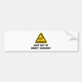 WARNING - Keep Out of Direct Sunlight Bumper Sticker