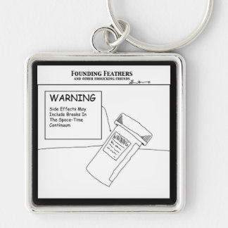 Warning Silver-Colored Square Keychain