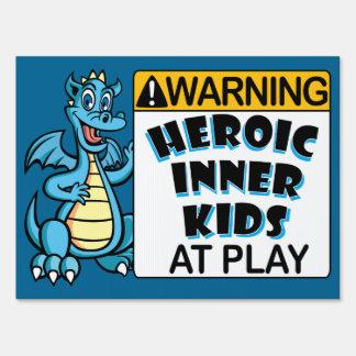 Warning! Kids at Play Lawn Sign