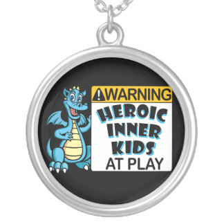 Warning! Kids at Play Round Pendant Necklace