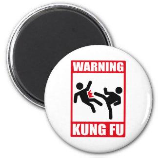 warning kung fu 2 inch round magnet
