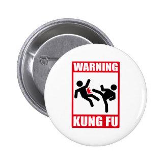 warning kung fu pinback button