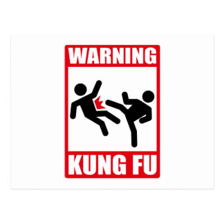 warning kung fu postcard