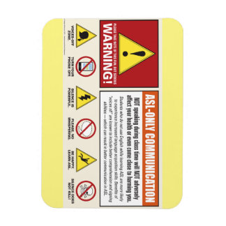 Warning label. ASL classroom. Voices Off. Rectangular Photo Magnet