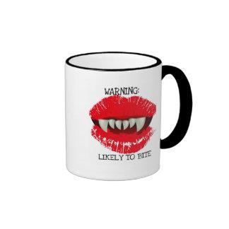 WARNING LIKELY TO BITE VAMPIRE LIPS PRINT COFFEE MUGS