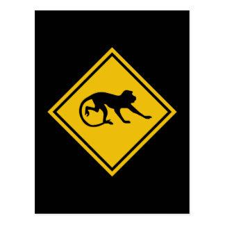 Warning Macaques, Traffic Sign, Malaysia Postcard
