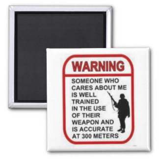 WARNING 2 INCH SQUARE MAGNET