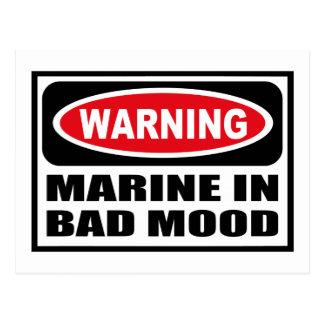 Warning MARINE IN BAD MOOD Postcard