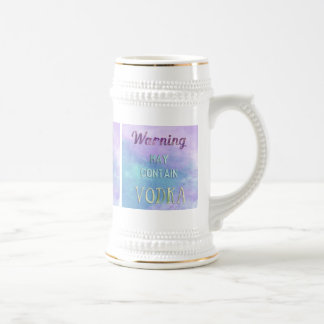 Warning May Contain Vodka Watercolor 18 Oz Beer Stein