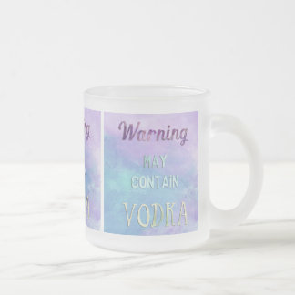 Warning May Contain Vodka Watercolor 10 Oz Frosted Glass Coffee Mug