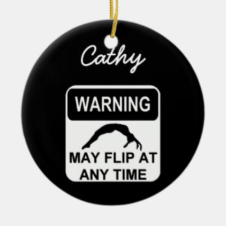 Warning may flip gymnast ornament