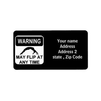 Warning may flip label
