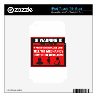 Warning - Mechanic Shop Safety Tips Decal For iPod Touch 4G