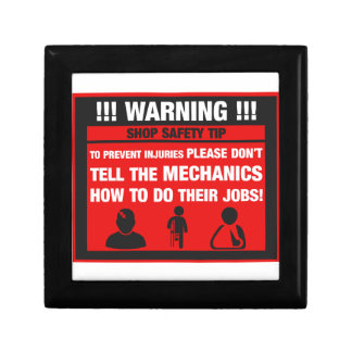 Warning - Mechanic Shop Safety Tips Gift Box