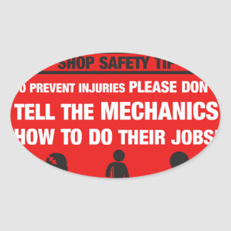 Warning - Mechanic Shop Safety Tips Oval Sticker