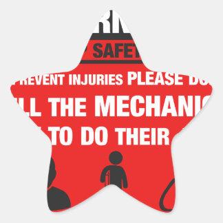 Warning - Mechanic Shop Safety Tips Star Sticker