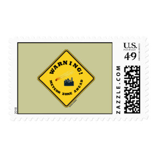 Warning! Meteor Zone Ahead (Diamond Yellow Sign) Stamps