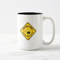 Warning! Meteor Zone Ahead (Diamond Yellow Sign) Two-Tone Coffee Mug