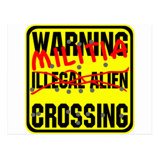 Warning Militia Crossing Postcard