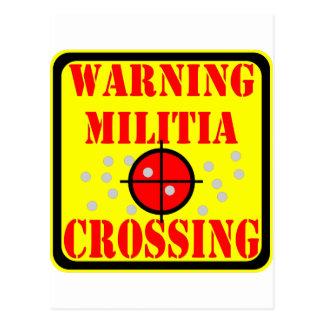 Warning Militia Crossing w/ Crosshairs Scope Postcard